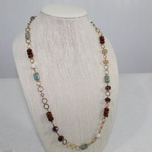 Unique Gold Chain Rock Beaded Necklace